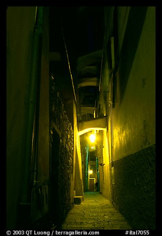 Narrow street at night, Vernazza. Cinque Terre, Liguria, Italy (color)