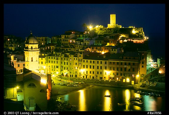 Harbor and Castello Doria at night, Vernazza. Cinque Terre, Liguria, Italy (color)