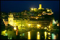 Harbor and Castello Doria at night, Vernazza. Cinque Terre, Liguria, Italy