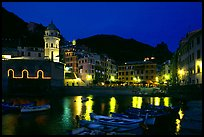 Harbor and seaside Piazza Guglielmo Marconi at night, Vernazza. Cinque Terre, Liguria, Italy