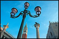 Lamps, Campanile, column with Lion, Piazza San Marco (Square Saint Mark), early morning. Venice, Veneto, Italy