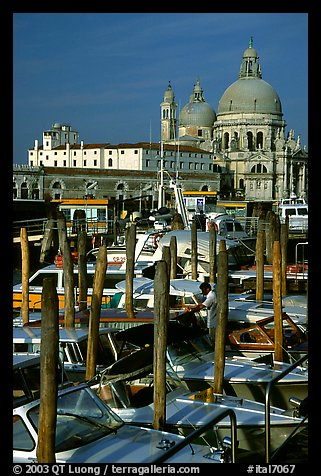 Water taxis and Santa Maria della Salute church, early morning. Venice, Veneto, Italy (color)