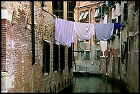Clothelines and canal in a popular quarter, Castello. Venice, Veneto, Italy