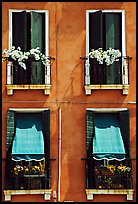 Windows, shutters, and flowers. Venice, Veneto, Italy