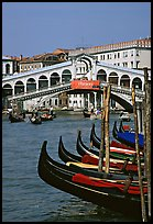 Gondolas and Rialto Bridge. Venice, Veneto, Italy