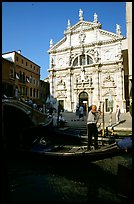 Gondola and church. Venice, Veneto, Italy
