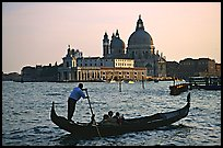 Gondola,  Santa Maria della Salute church, late afternoon. Venice, Veneto, Italy (color)