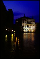 Rezzonico palace illuminated at night, along the Grand Canal. Venice, Veneto, Italy (color)