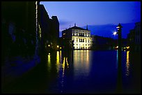Grand Canal at night with lighted palace. Venice, Veneto, Italy (color)