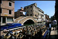 Delivery of wine along a side canal, Castello. Venice, Veneto, Italy