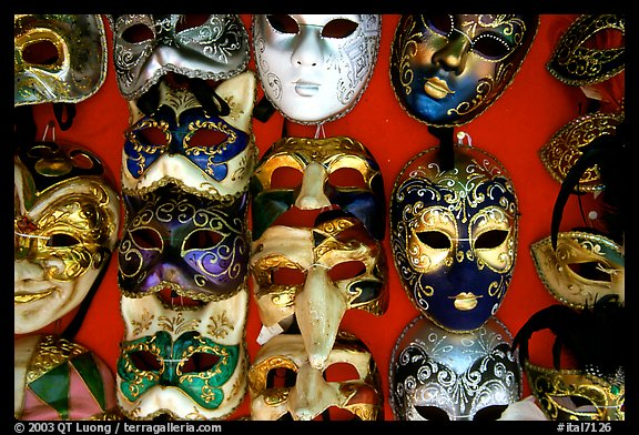 Close-up of traditional carnival masks, Burano. Venice, Veneto, Italy (color)
