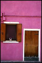 Door, window, pink-colored house,  Burano. Venice, Veneto, Italy