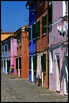 Distinctive, brightly painted houses, Burano. Venice, Veneto, Italy (color)