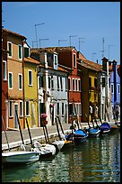Canal lined with brightly painted houses, Burano. Venice, Veneto, Italy