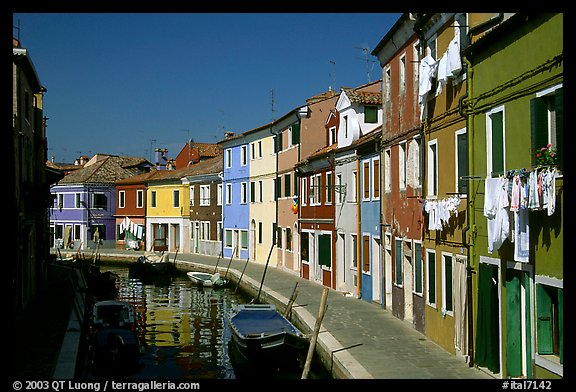 Canal lined with multihued houses, Burano. Venice, Veneto, Italy (color)