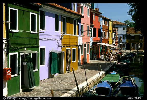 Canal bordered by multicolored  houses, Burano. Venice, Veneto, Italy (color)