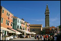 Street and church, Burano. Venice, Veneto, Italy