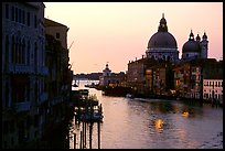 Church Santa Maria della Salute at the mouth of the Grand Canal, sunrise. Venice, Veneto, Italy