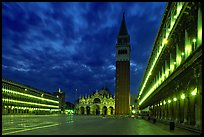 Campanile and Piazza San Marco (Square Saint Mark) at night. Venice, Veneto, Italy (color)
