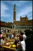 Outdoor dinning on Piazza Del Campo. Siena, Tuscany, Italy (color)