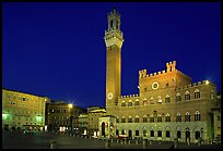 Piazza Del Campo and Palazzo Pubblico at night. Siena, Tuscany, Italy ( color)