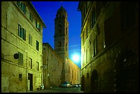 Street and church at dawn. Siena, Tuscany, Italy (color)