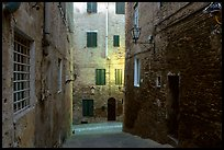 Narrow streets at dawn. Siena, Tuscany, Italy
