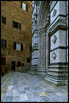 Small square besides the Duomo. Siena, Tuscany, Italy