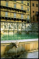 15th century Fonte Gaia and houses  on Il Campo. Siena, Tuscany, Italy (color)