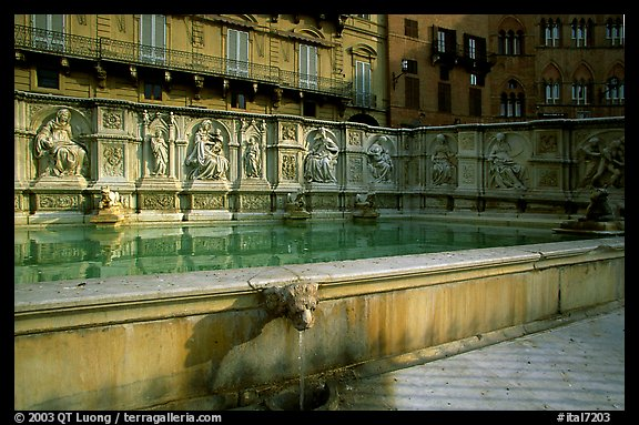 15th century Fonte Gaia (Gay Fountain) on Il Campo. Siena, Tuscany, Italy