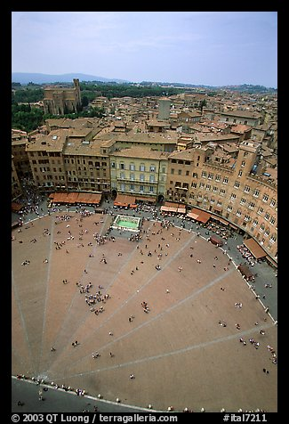 Piazza Del Campo seen from Torre del Mangia. Siena, Tuscany, Italy (color)
