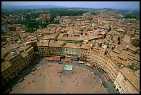 Piazza Del Campo and houses seen from Torre del Mangia. Siena, Tuscany, Italy