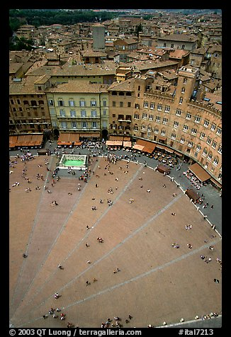 Section of medieval Piazza Del Campo seen from Torre del Mangia. Siena, Tuscany, Italy (color)