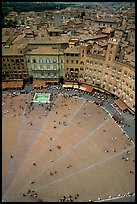Section of medieval Piazza Del Campo seen from Torre del Mangia. Siena, Tuscany, Italy