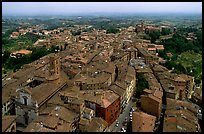 Historic town seen from Torre del Mangia. Siena, Tuscany, Italy