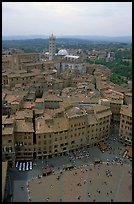 Piazza Del Campo and Duomo seen from Torre del Mangia. Siena, Tuscany, Italy (color)