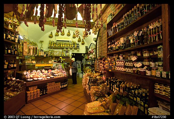 Produce store on Via San Giovanni. San Gimignano, Tuscany, Italy (color)