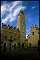 Palazzo del Popolo, Torre Grossa, Duomo, early morning. San Gimignano, Tuscany, Italy (color)