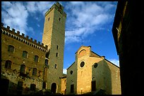 Palazzo del Popolo, Torre Grossa, Duomo, early morning. San Gimignano, Tuscany, Italy ( color)