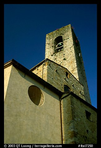 Massive shapes of the Duomo. San Gimignano, Tuscany, Italy (color)