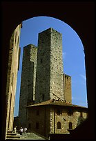 Medieval Towers framed by an arch. San Gimignano, Tuscany, Italy (color)