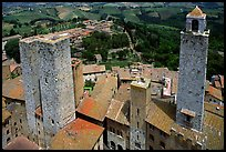 Towers seen from Torre Grossa. San Gimignano, Tuscany, Italy