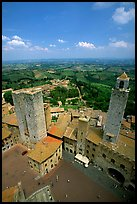 Piazza del Duomo seen from Torre Grossa. San Gimignano, Tuscany, Italy (color)