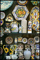 Ceramic plates on display. Orvieto, Umbria (color)
