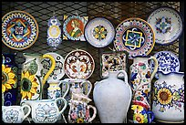 Assortment of ceramic pieces for sale. Orvieto, Umbria (color)