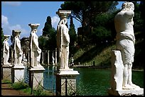 Antique statues along the Canopus, Villa Hadriana. Tivoli, Lazio, Italy