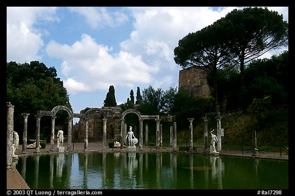 Antique statues along the Canopus, Villa Adriana. Tivoli, Lazio, Italy (color)