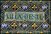 Ceramic sign at the entrance of Villa d'Este. Tivoli, Lazio, Italy