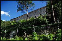The Villa d'Este seen from the lower terraces of the garden. Tivoli, Lazio, Italy