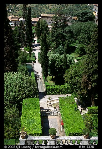 Formal gardens seen from the Villa d'Este. Tivoli, Lazio, Italy (color)